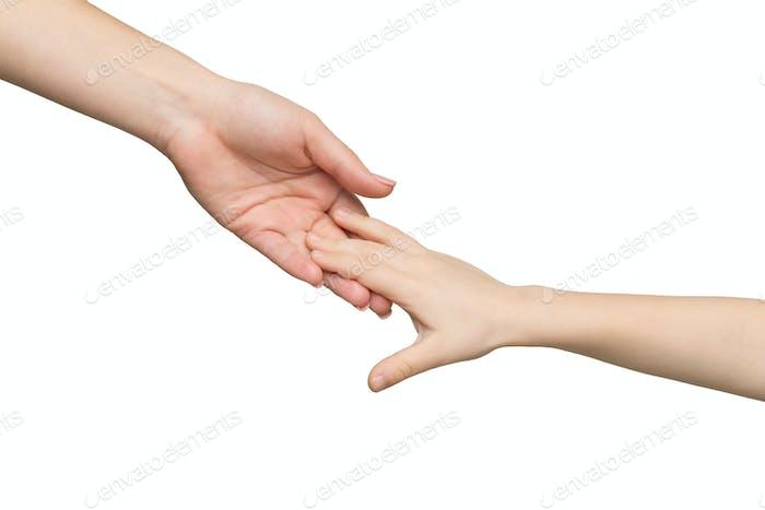 Mutter und Kind Hände isoliert
