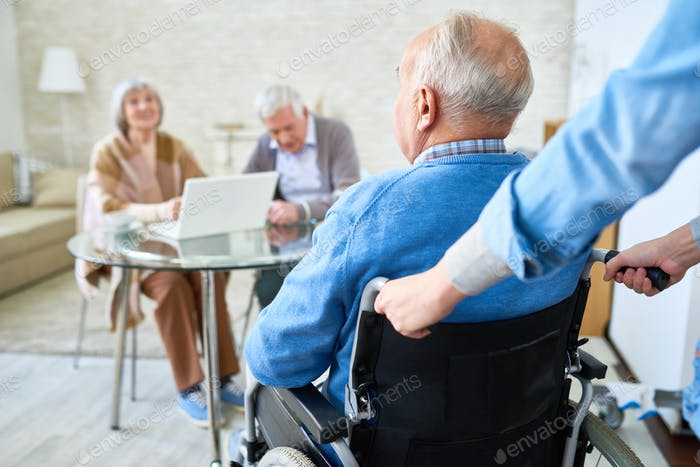 Handicapped Man in Retirement Home