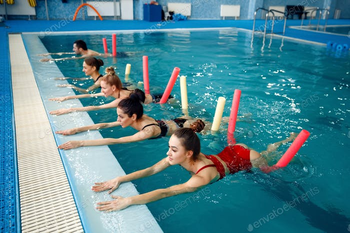 Female swimmers group, aqua aerobics training