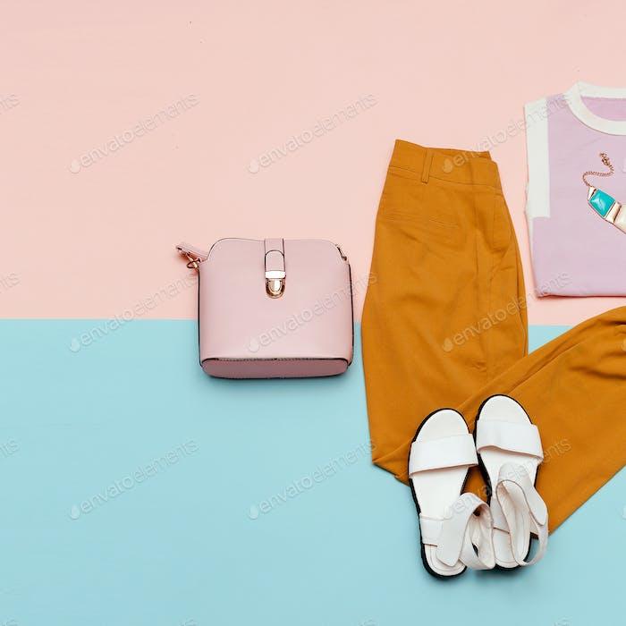 Summer outfit Vanilla Lady Pants Sandals Minimal Design Bag Fash