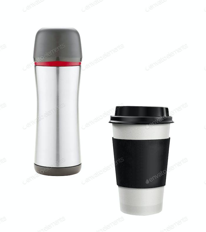 Kaffeetasse und Thermoskanne isoliert
