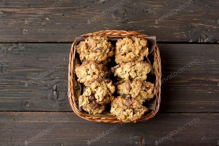 Oats cookies in bread basket
