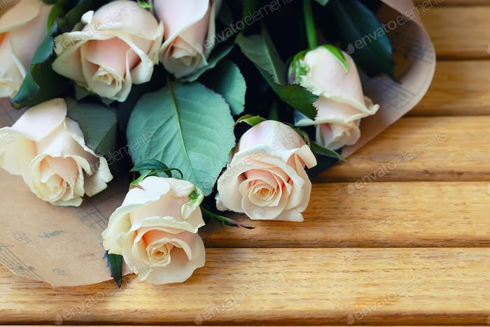 bouquet of Natural pastel roses