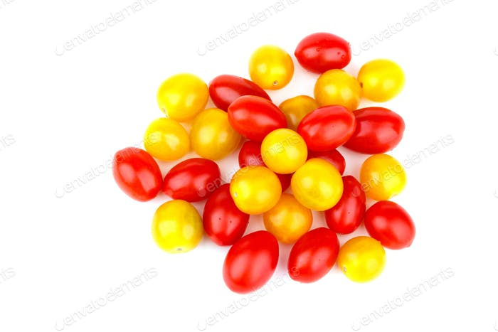 Yellow and red tomato cherry