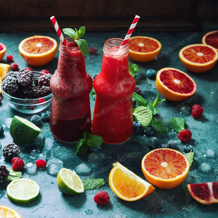 Various Colorful Smoothies With Ingredients, Healthy Detox Drink