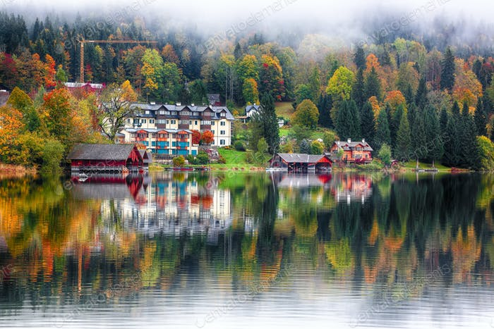 Misty morning on the lake Altausseer See Alps Austria Europe
