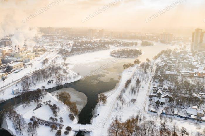 Winter river Svisloch in the center of Minsk. Belarus