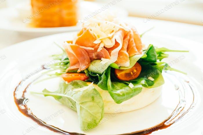 Pancake with rocket salad