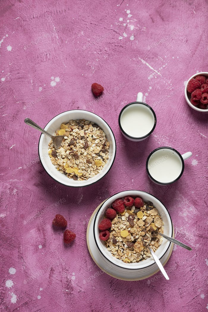 Healthy granola mix with rasberry