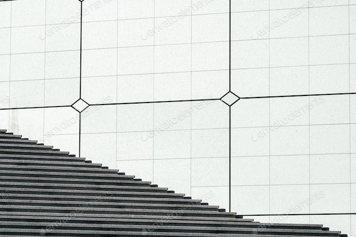 View on stairs in a modern district. Abstract minimal background.