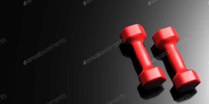 Dumbbells set red color isolated on black. 3d illustration
