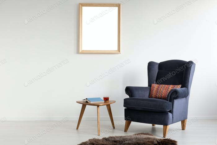 Frame with mockup on white wall of elegant living room with comf