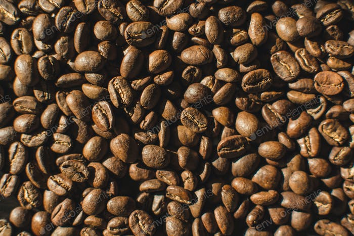 Lightly roasted coffee beans aerial