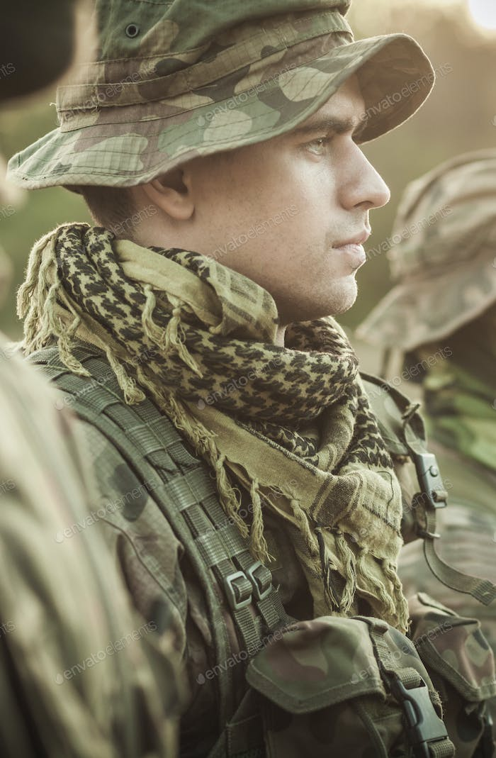 Soldier in a military clothes