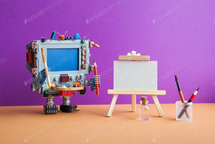Robotic creativity and artificial intelligence. Robot artist computer with tools, wooden easel