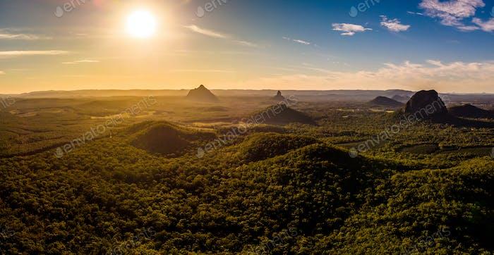 Panoramic aerial of Glasshouse Mountains on the Sunshine Coast f