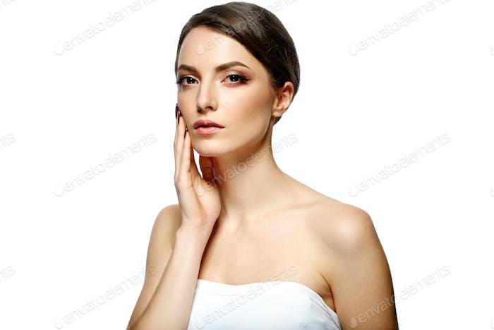Woman beautiful face natural make up manicure nails hands beautiful hair