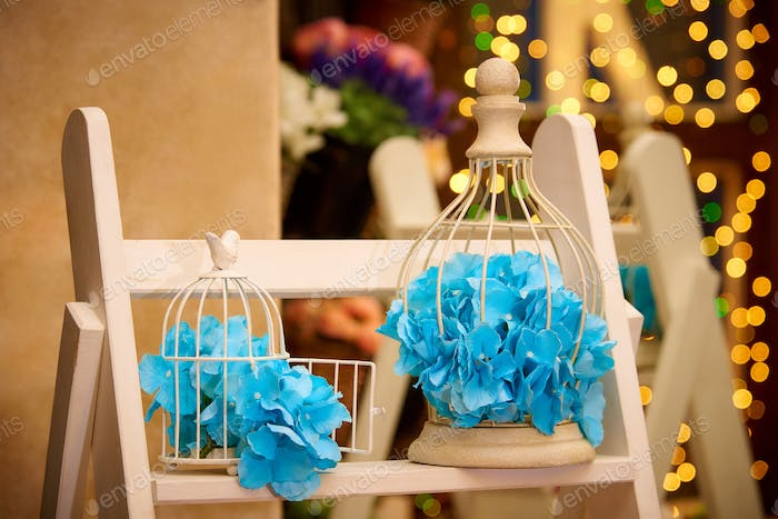Blue petals in cages