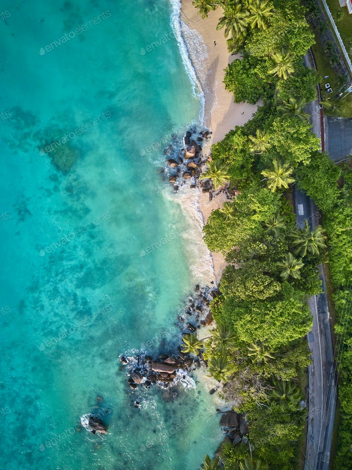 Vista aérea de la playa en Seychelles