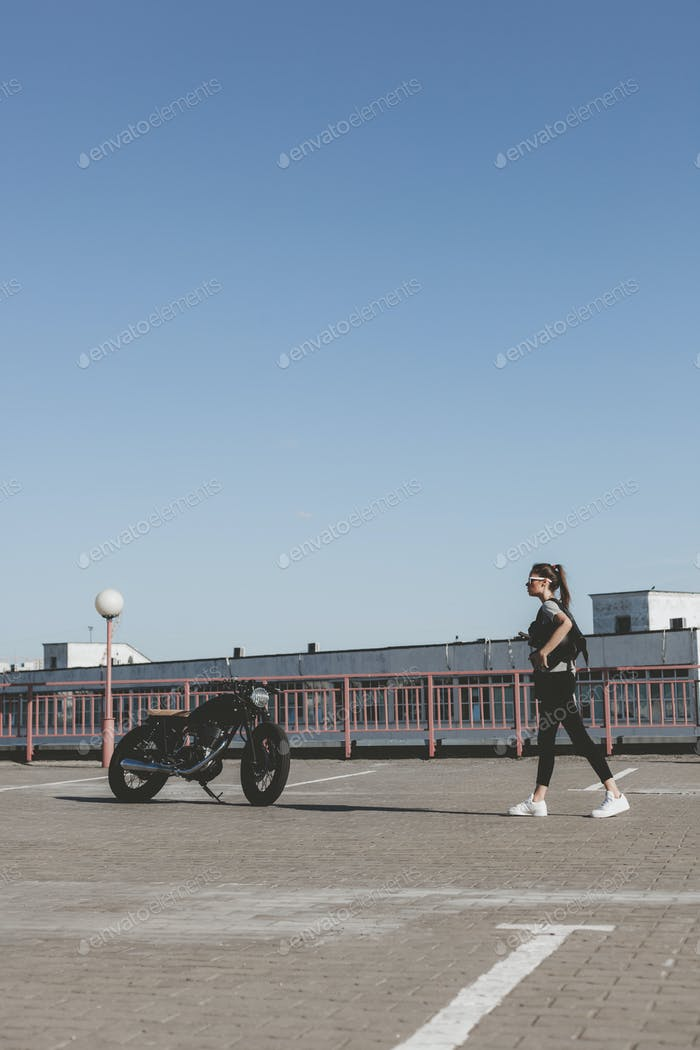 Woman with motorcycle