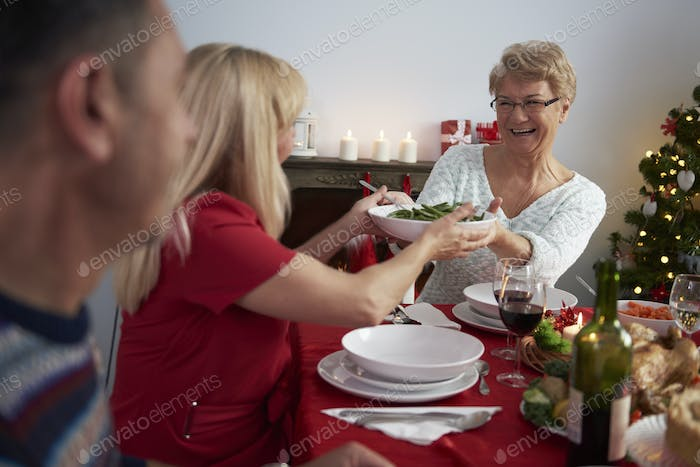 Christmas Eve served by grandmother