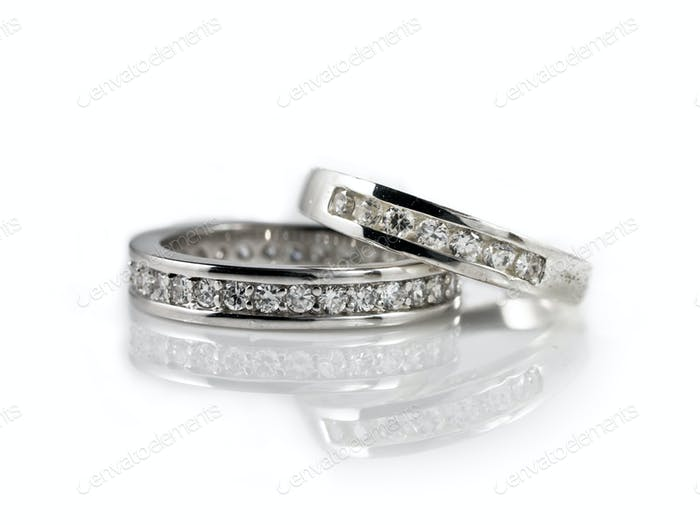 engagement rings on white