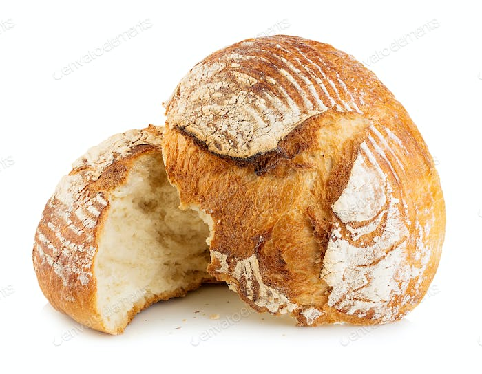 Fresh grain homemade bread cut in half on white background.