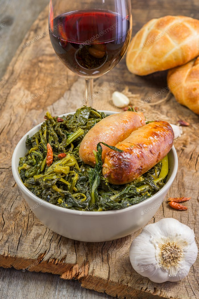 broccoli and sausages