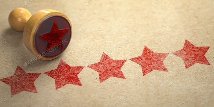Five stars printed on craft paper with stamp. Rating, best choic