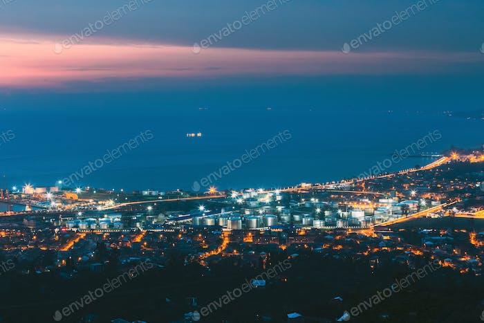 Batumi, Adjara, Georgia. Aerial View Of Cityscape At Evening. Black Sea, Port And Fuel Storage In