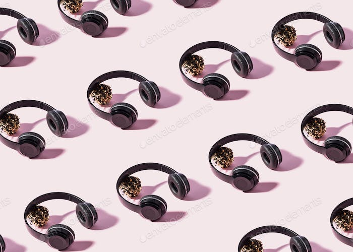 Headphones with shadow on pink, pattern