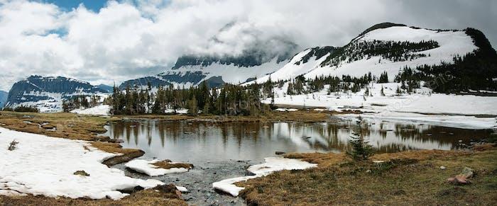 Panorama view to hidden lake, Glacier national park