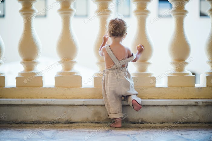 A rear view of small toddler girl looking through concrete railing on summer holiday.