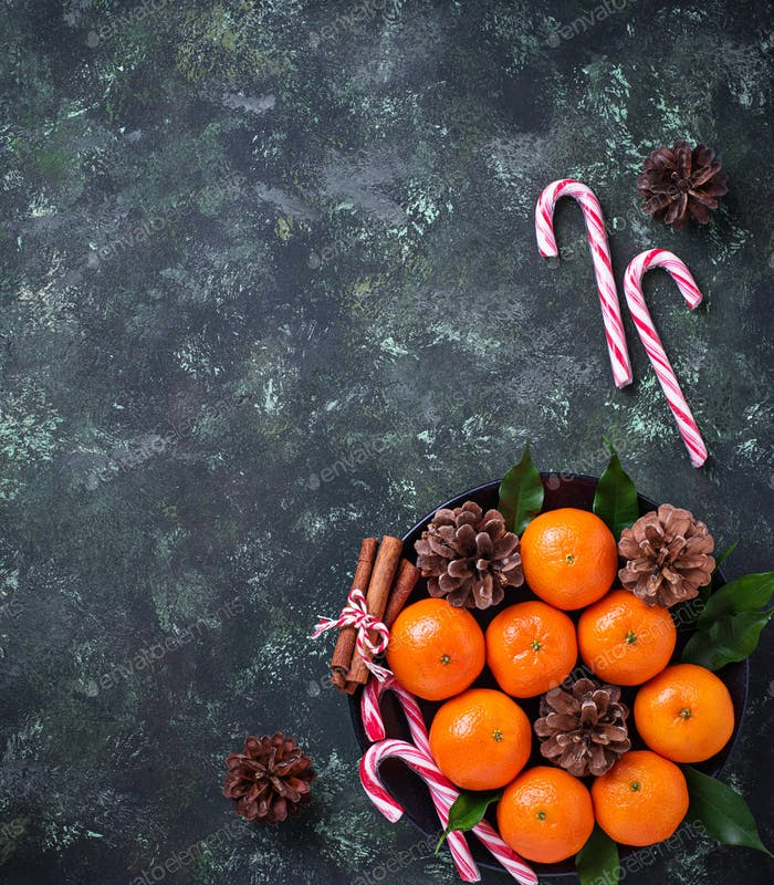 Christmas or New Year composition with tangerines