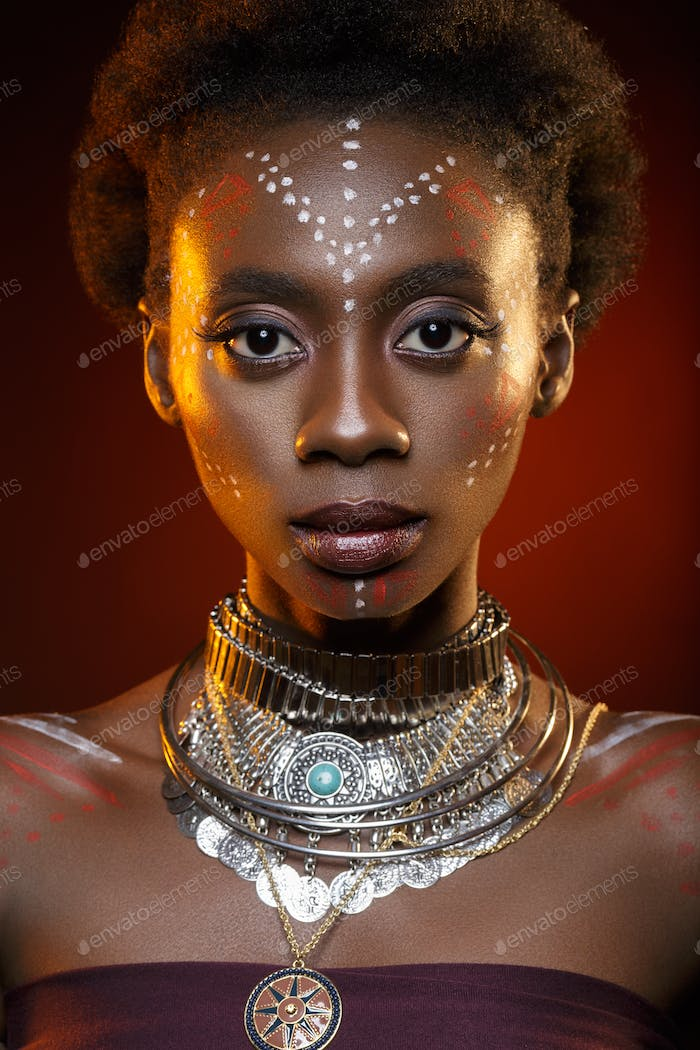 Beautiful black girl with crystal crown