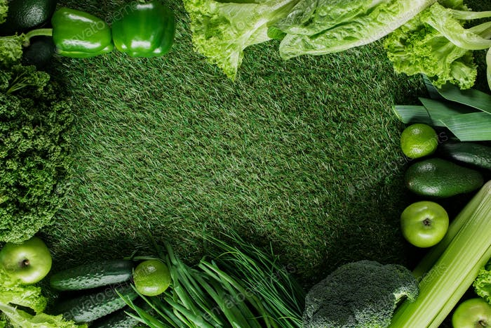 top view of green vegetables on grass, healthy eating concept
