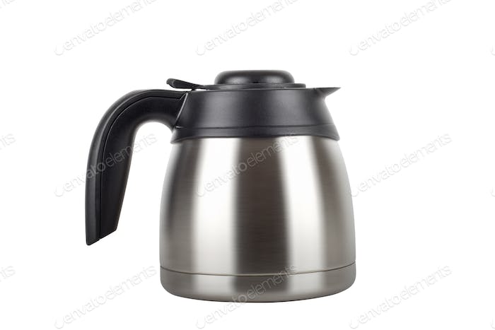 stainless electric kettle isolated on white