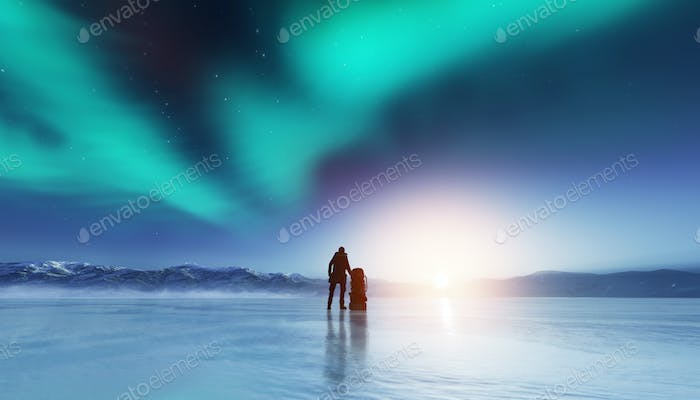 Adventurous man standing with a backpack, looking at aurora.