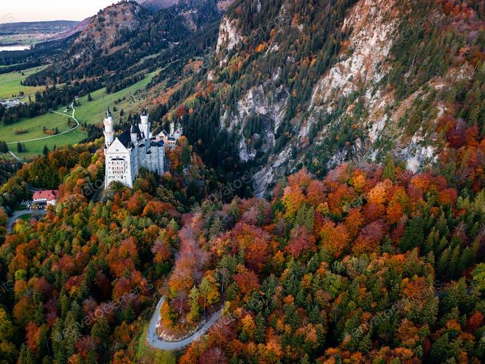 Amazing aerial view on Neuschwanstein. Bavaria, Germany