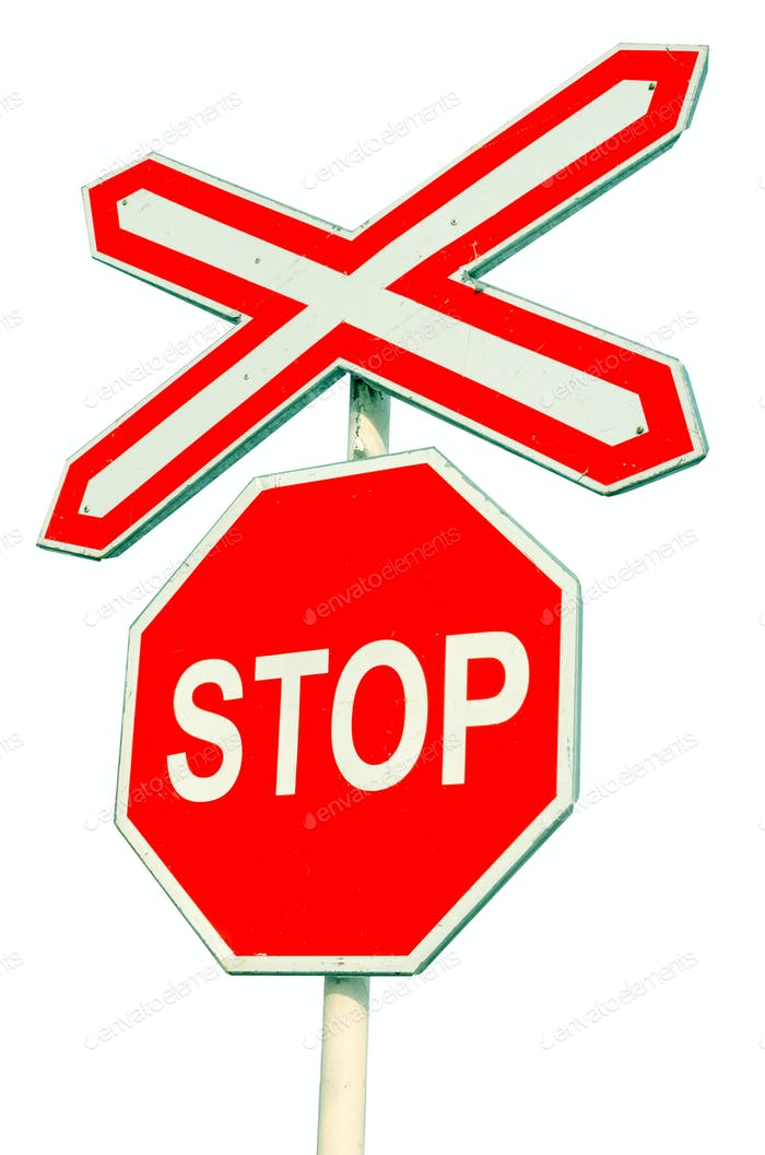 Stop sign on white background. Railroad crossing