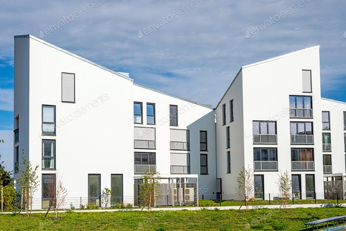 White modern townhouses