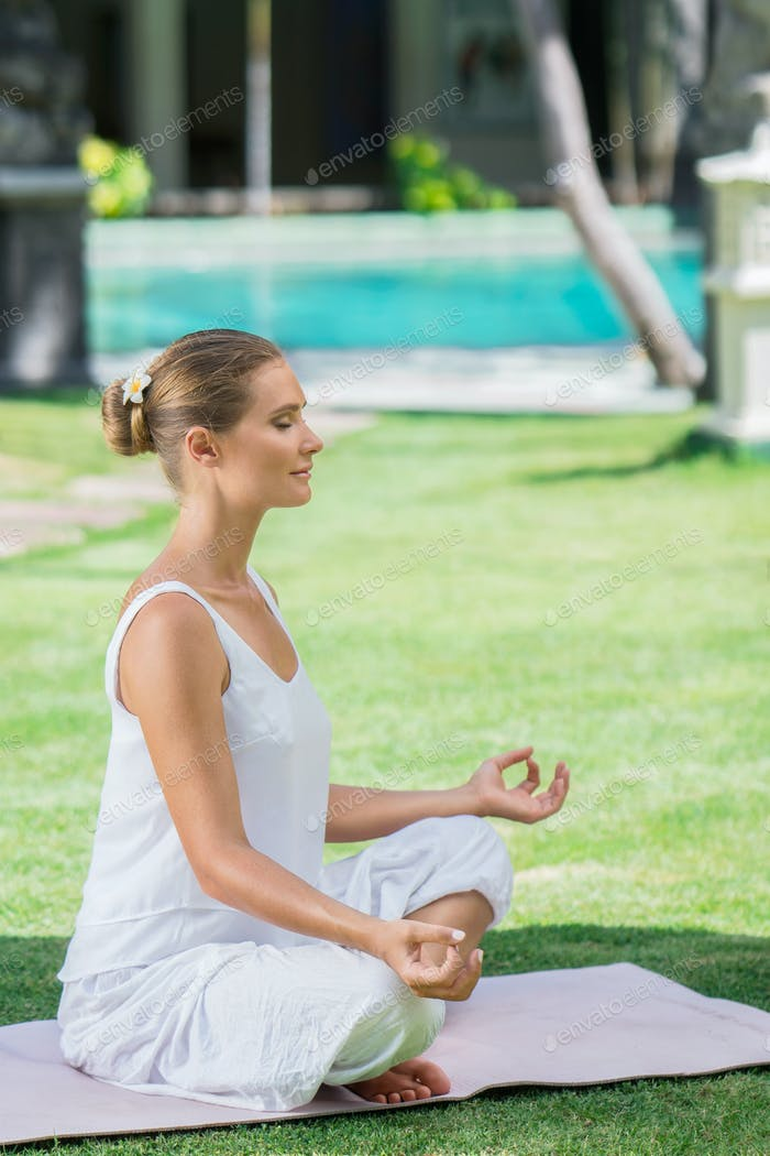Meditation girl outdoors
