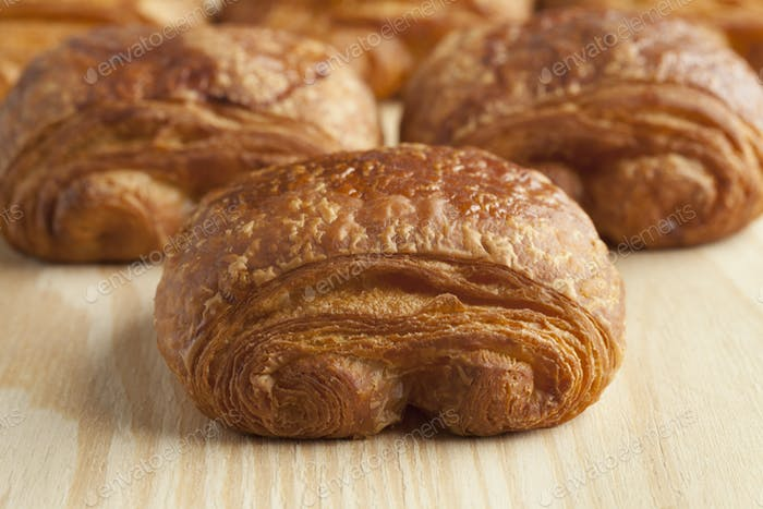 Chocolate croissants close up