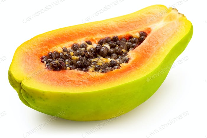 half ripe papaya isolated on white background