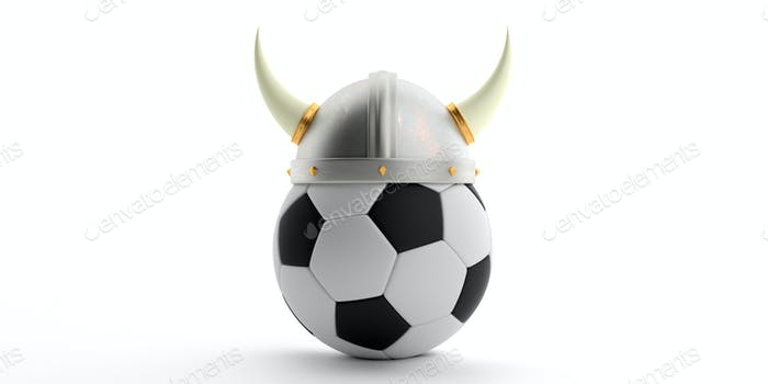 Viking helmet on a soccer ball isolated against white background. 3d illustration