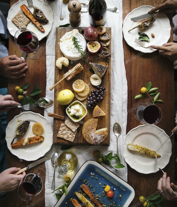 Adults eating a cheese platter food photography recipe idea