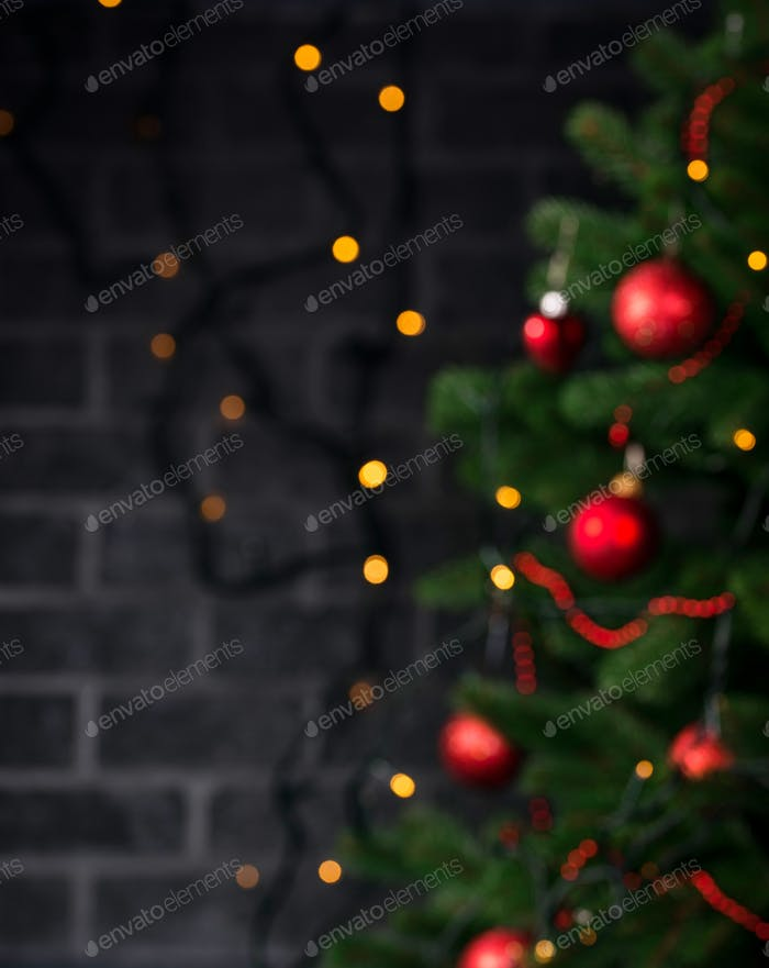Christmas defocused background with tree