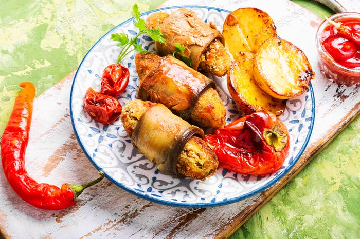 Turkish dish of eggplant parmak-koft