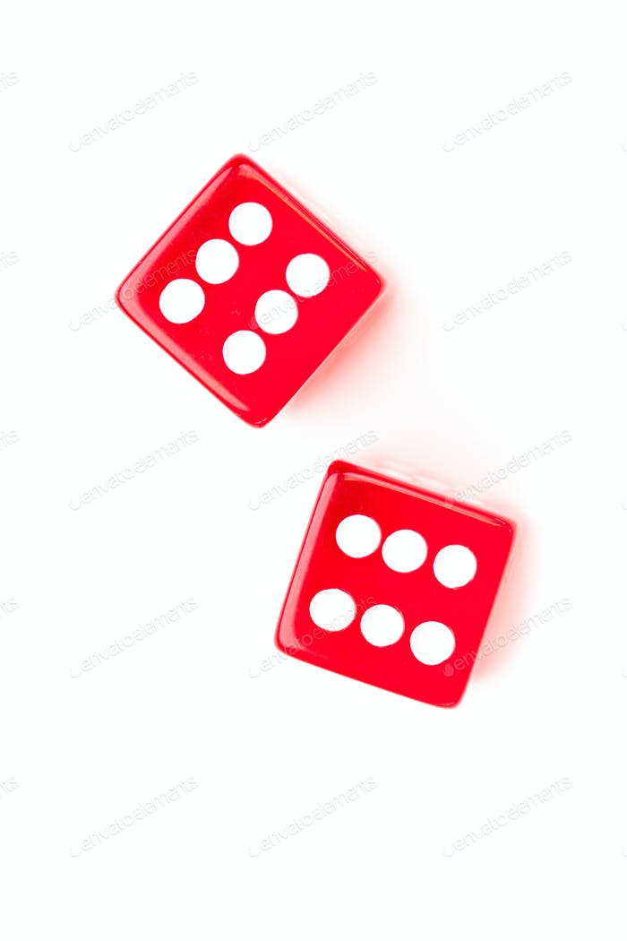 Dices designating a six number against a white background