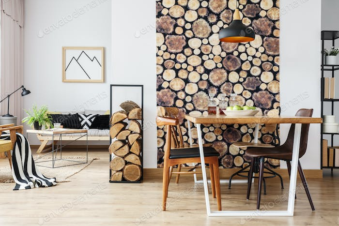 Rustic apartment with table